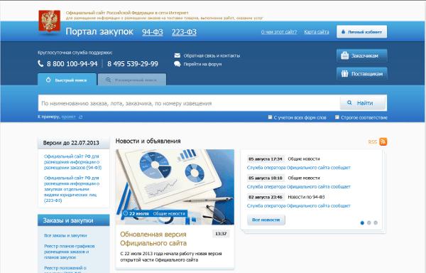 Официальный сайт портала госзакупок