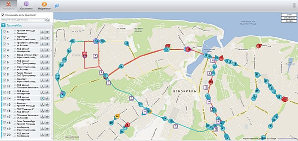 Схема движения общественного транспорта в Чебоксарах
