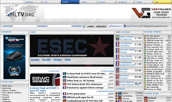 Скриншот сайта hltv.org