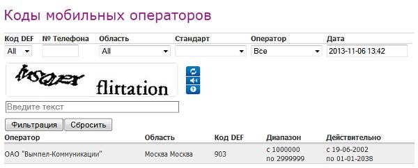 Все коды мобильных операторов