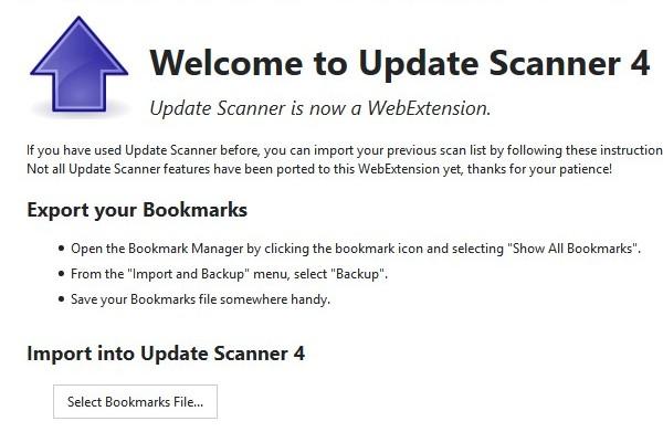 Firefox 57: как вернуть список закладок Update Scanner