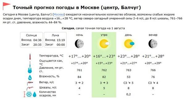 Точная погода в Москве